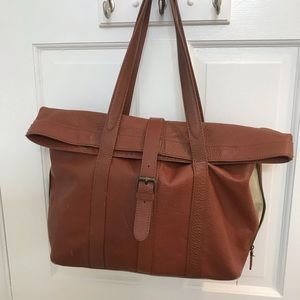 LL Bean Signature Collection leather tote